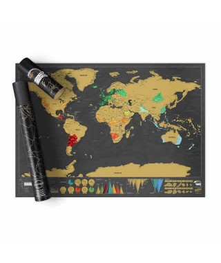 "Luckies ""Scratch map"" - Mappa del mondo da grattare - nera"