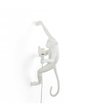 "Seletti ""Monkey Lamp"" Hanging Version Right Hand, Indoor - Lampada da Parete, Bianca"
