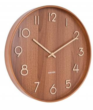 "Present Time ""Wall Clock Pure"" - Orologio da Parete, Dark Wood e Oro"